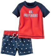 "Carter's Baby Boy Mr. Independent"" Rashguard & Star Swim Trunks Set"