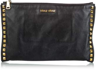 Miu Miu Black Studded Soft Calf Leather Clutch