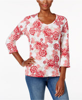 Karen Scott Floral-Print V-Neck Top, Only at Macy's