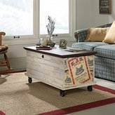 Sauder Eden Rue Rolling Trunk Coffee Table in White Plank
