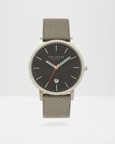 Geo print leather watch