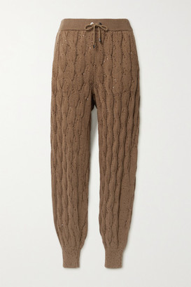 Brunello Cucinelli Sequin-embellished Cable-knit Track Pants - Brown