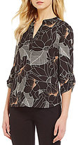 Gibson & Latimer V-Neck 3/4 Sleeve Floral Trace Print Blouse