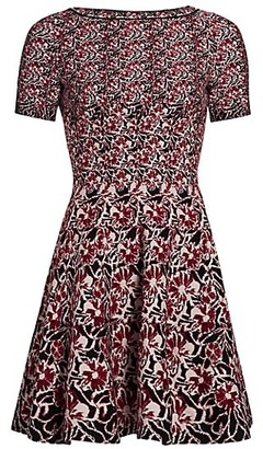 Alaia Floral Knit Stretch-Wool Fit-&-Flare Dress