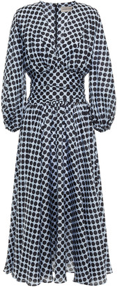 Alexandre Vauthier Gathered Polka-dot Silk Crepe De Chine Midi Dress