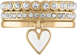 Rachel Roy Gold-Tone 3-Pc. Set Enamel Heart & Crystal Band Stackable Rings