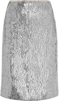 J.Crew Austen Sequined Crepe De Chine Pencil Skirt - Silver