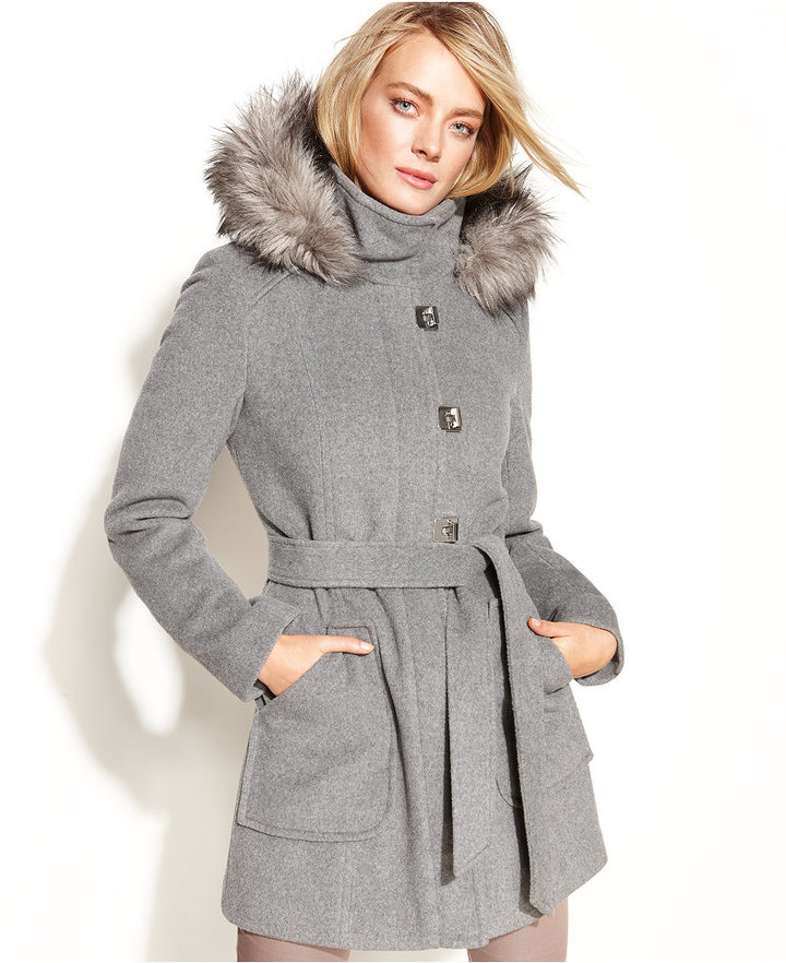 Calvin Klein Turn-Key Hooded Faux-Fur-Trim Coat
