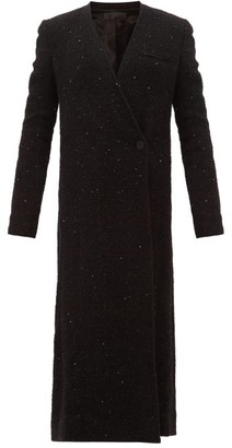 Haider Ackermann V-neck Sequinned-boucle Long-line Coat - Womens - Black