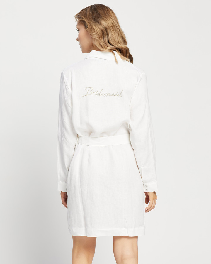 Thumbnail for your product : Jasmine and Will - Women's White Wedding & Bridal - Linen Bridesmaid Robe - Size S/M at The Iconic