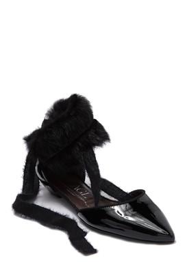 Attilio Giusti Leombruni Leather & Genuine Rabbit Fur Pointed Toe Strappy Flat