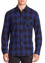 Hudson Distressed Long Sleeve Cotton Shirt