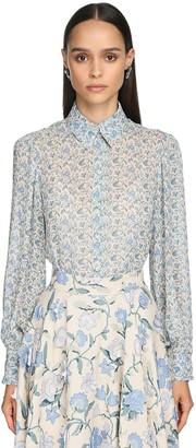 Luisa Beccaria Floral Print Viscose Crepe Shirt