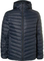 Peak Performance Frost Quilted Shell Hooded Down Jacket - Navy