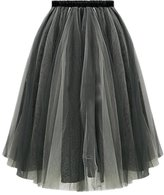 Melody Women Knee Length Ballet Sheer Ruffle Mesh Tulle Overlay Tutu Skirt
