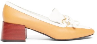 Loewe Square-toe Leather Block-heeled Loafers - Womens - Tan White