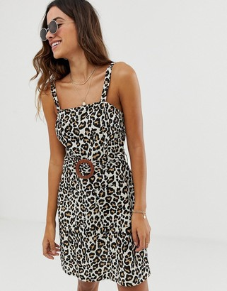 Asos Design DESIGN square neck linen mini sundress with wooden buckle and contrast stitch in leopard print-Multi