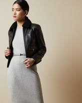 Ted Baker Shearling Collar Leather Jacket