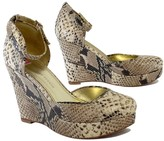 Elaine Turner Designs Python Leather Ankle Strap Wedges