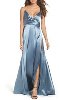 Jill Stuart Women's Faux Wrap Satin Gown