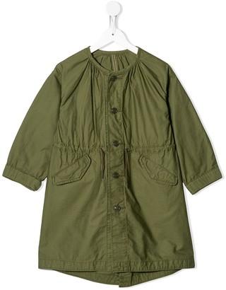 Denim Dungaree Round Neck Drawstring Waist Jacket