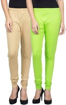 Navyata Cotton Lycra Women's Leggings Elastic Waist Pants Yoke Leggings Set of 2
