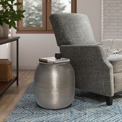 Thumbnail for your product : World Menagerie Cavett Drum End Table with Storage