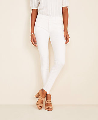 Ann Taylor Sculpting Pocket Skinny Jeans In White