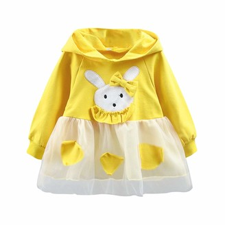 DEBAIJIA Baby Girls Dress 2-6Y Lace Stitching Stripe Tutu Princess Dresses Kids Infant Party Tulle Skirt Sequins Bowknot Long Sleeve Cute Knitted Cotton