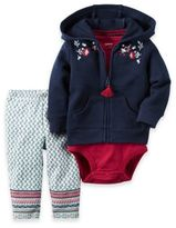 Carter's 3-Piece Floral Embroidery Hoodie, Bodysuit and Pant Set in Navy