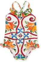 Dolce & Gabbana Maiolica Ruffle One-Piece Swimsuit, Size 12-24 Months