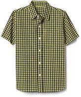 Gingham short sleeve poplin shirt