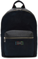 Paul Smith Navy Canvas & Leather Backpack