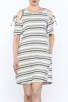 Lush Stripe Cold Shoulder Dress