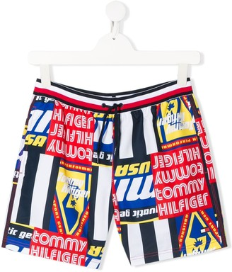 Tommy Hilfiger Junior Multi Graphic-Print Swim Shorts