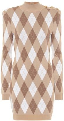 Balmain Argyle knit minidress