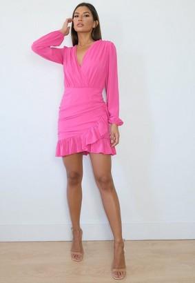 Missguided Pink Frill Hem Wrap Bodycon Mini Dress