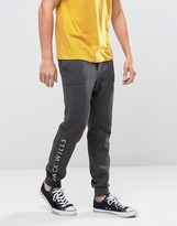 Jack Wills Granville Slim Fit Cuffed Jogger With Leg Print In Grey