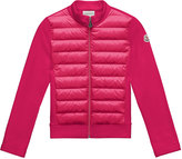 Moncler Maglia Knit Zip Cardigan w/ Down Front, Fuchsia, Size 4-6
