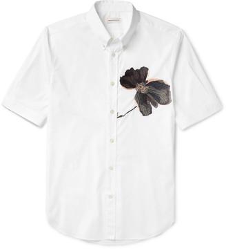 Alexander McQueen Button-Down Collar Embroidered Cotton-Poplin Shirt