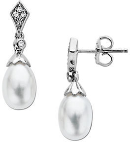 Lord & Taylor Sterling Silver Fresh Water Pearl & Diamond Earrings