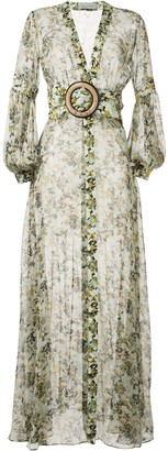 Silvia Tcherassi Sheer Camouflage-Print Maxi Dress