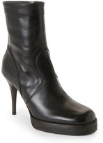 Rick Owens Black Leather High Heel Ankle Booties