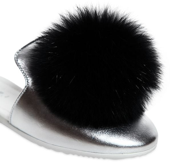 Thumbnail for your product : Joshua Sanders Metallic Leather Mules W/ Fox Pompoms
