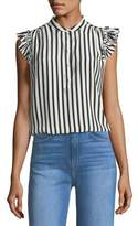 Frame Sleeveless Striped Silk Blouse with Ruffled Trim