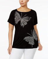 INC International Concepts Plus Size Embroidered Butterfly Top, Only at Macy's