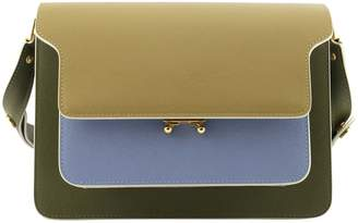 Marni Trunk Bag In Smooth Calf Beige Pale Blue And Green