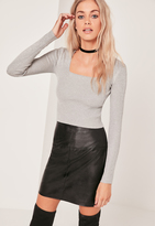 Missguided Grey Square Neck Ribbed Sweater