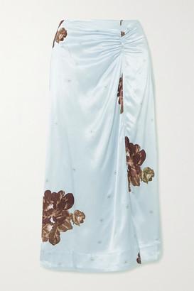 Ganni Floral-print Ruched Satin Midi Skirt - Light blue