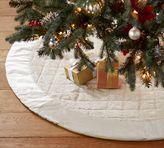 Pottery Barn Shiny Velvet Quilted Tree Skirt - Ivory